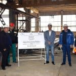 CUTTING OF THE FIRST STEEL PLATE OF BN 1203 - NEW MARKING VESSEL FOR THE EXECUTIVE AGENCY FOR EXPLORATION AND MAINTENANCE OF THE DANUBE RIVER