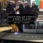 CUTTING OF THE FIRST STEEL PLATE OF BN 1403 – THE THIRD TUGBOAT OF THE 40 TBP SERIES